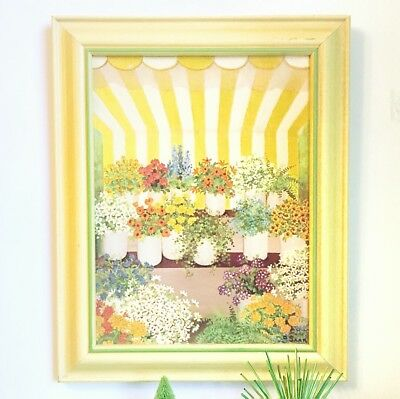 Vintage Yellow & Green Wood Framed 16x20 Garden Floral Painting Print