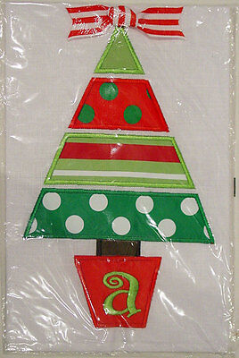 Mud Pie Holiday Tree Linen Embroidered Initialed Guest Towel New In Package