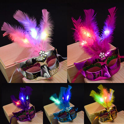 Princess Feather Masks Women Venetian LED Mask Masquerade Fancy Dress Party New#