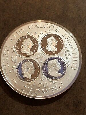 Turks and Caicos Islands 1977 20 Crown Queen Victoria Sterling Silver Proof Coin