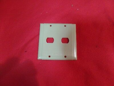 1 Vintage Uniline Ribbed Bakelite Ivory Despard 2 Gang 2 Switch Plate Cover Deco