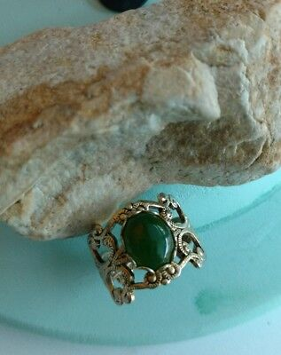 Vintage goldtone faux jade adjustable ring