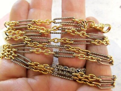 """Gorgeous Victorian Niello 48"""" LONG MUFF GUARD Silver & Gold Filled Fob Chain"""