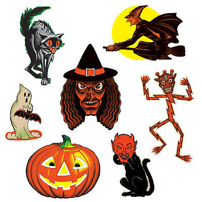 7pc Vintage Beistle HALLOWEEN CUTOUTS Repro Party Decorations SCAT CAT WITCH