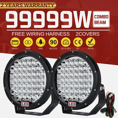 Pair 9inch 99999W Cree Round LED Driving Work Lights High Combo Lens Truck Jeep