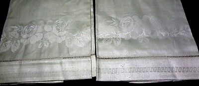 "2 Vintage IRISH Linen 100% Flax DAMASK XL Show Towels Roses 18"" x 33"" NOS Unused"