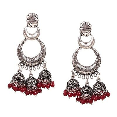 e3aa22683 Oxidized Silver Plated handmade 3 in 1 Vintage Jhumka Jhumki Earrings (Dark  Red)