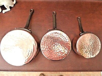 Vintage French Set of 3 Copper Pans with Cast Iron Handles Weight 2.1kgs