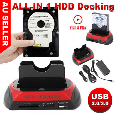 "HDD Docking Station Dual 2.5"" 3.5"" SATA IDE Hard Disk Drive Dock OTB Card Reader"