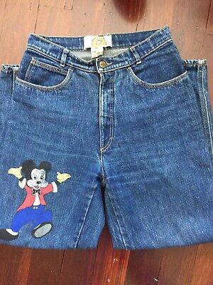 Women's Vintage 80s Mickey Mouse High Waisted Zip Denim Jean /L