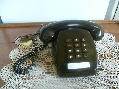 """Rare - Vintage (Chocolate) """"dial"""" Telephone - Works Perfectly - Dated 1982 - Vgc"""