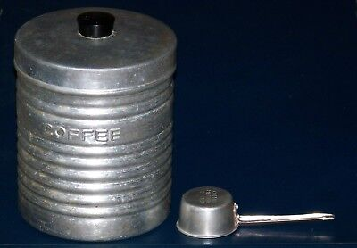 Aluminum Coffee Lot - Italian Ribbed & Embossed Canister and 2 Tbsp Measure