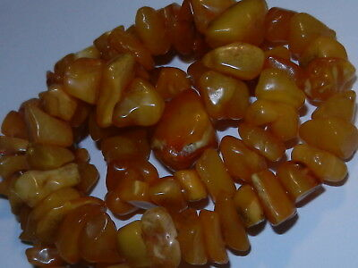 Antique Genuine baltic amber BUTTERSCOTCH EGG YOLK Beads Necklace 老琥珀