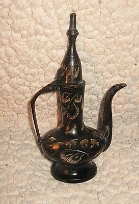 "Vtg Collectible Miniature 6"" Black Etched Brass Dallah/Arabic Coffee/Tea Pot"