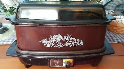 VINTAGE WEST BEND 4 quart Slow Cooker Crock Pot Roaster Griddle Brown Tint Lid