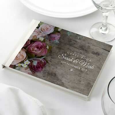 Personalised Wedding Guest Book Floral Rose Watercolour Rustic Wood Effect