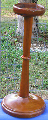 """Vintage Hand Made Plant Stand/Ash Tray Holder All Dark Wood 26"""" Tall"""