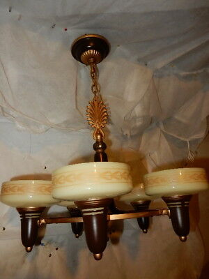 Art Deco 5 Light Slip Shade Cast Iron Ceiling Fixture 1930's-----Lightolier