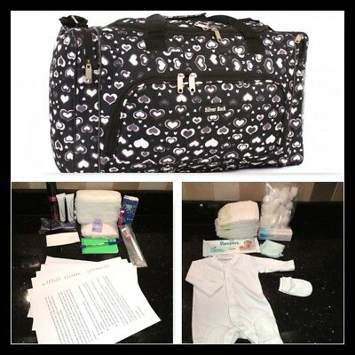 Prepacked budget maternity/hospital/labour bag in black and grey heart print