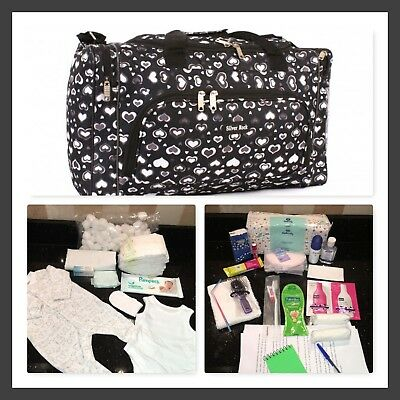 Luxury Pre packed maternity/hospital/labour bag in black and grey heart