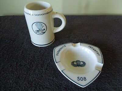 Original WWII 508th PIR 82nd Airborne MUG & ASHTRAY Set German made Paratroopers