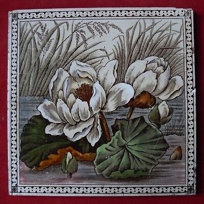 Antique Victorian Aesthetic Print & Tint Floral Tile Water Lily Flowers - Repair