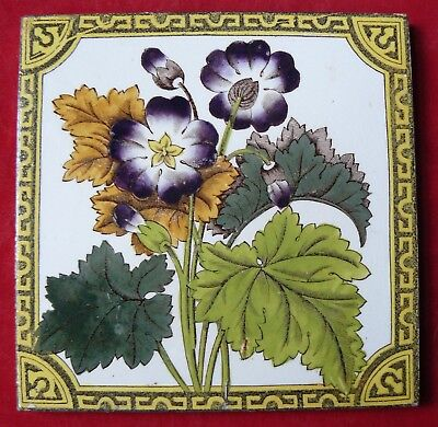 Antique Victorian Aesthetic Print & Tint Floral Tile Purple Flowers VGC