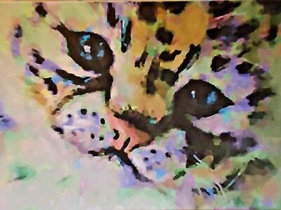 ACEO ATC Baby Snow Leopard Hand-Rendered Wet Watercolor