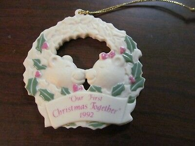 """Avon """"our First Christmas Together"""" 1992 Porcelain Ornament Pre-Owned"""