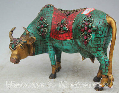 "10"" Old Chinese Fengshui Turquoise Red Coral Bronze Gem Wealth Bull Oxen Statue"