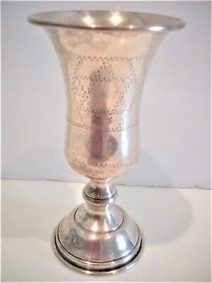 Vintage Judaica Sterling Silver Kiddish / Wine Cup / Goblet