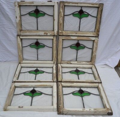 8 British leaded light stained glass window panels. B827c.