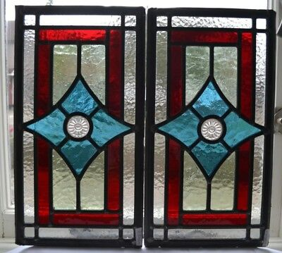2 British leaded light stained glass window panels R826m. WORLDWIDE DELIVERY!