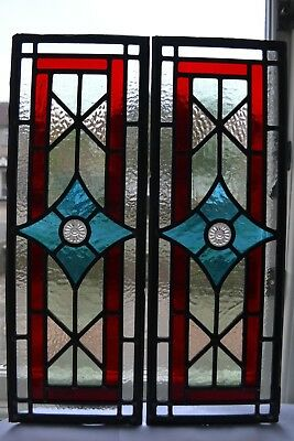 2 British leaded light stained glass window panels R826l. WORLDWIDE DELIVERY!