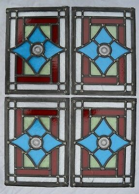 4 traditionally made British leaded light stained glass window panels. R826k