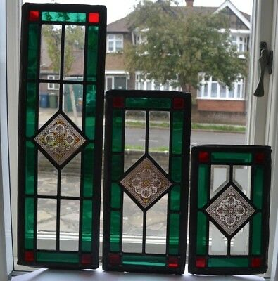 3 traditionally made British leaded light stained glass window panels. R826b