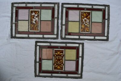 3 British handpainted leaded light stained glass window panels. R750