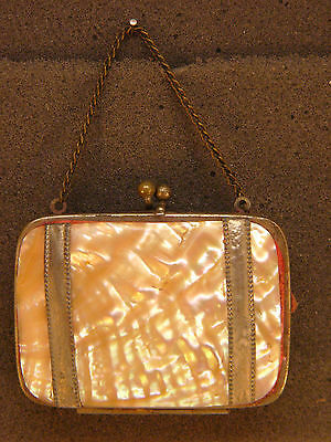 Antique French Mother of Pearl Red Inside Coin Change Purse 19th Century