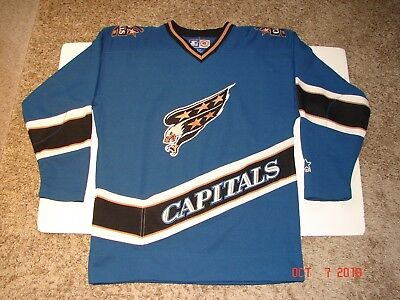 a8fd00e7107 AUTHENTIC Vintage WASHINGTON CAPITALS Screaming Eagle JERSEY By Starter  SMALL