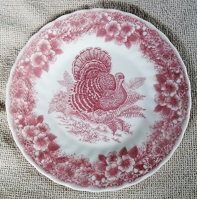 Myott Thanksgiving Salad Plate~Red~Turkey