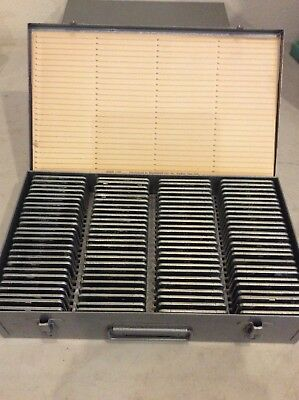 Vintage Brumberger Metal Slide Storage Case with 100 Metal and Glass Slides