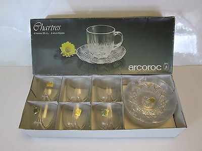 Vintage Arcoroc Chartres Set of 6 Coffee/Tea Cups & Saucers Arc France NEW BOX