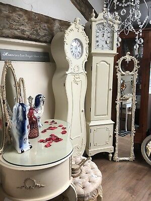 Grandfather Clock Cream French Beregere Style Shabby Chic