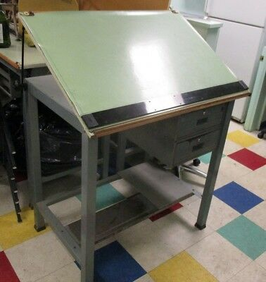 "Vintage DRAFTING TABLE with STRAIGHT-EDGE, 40"" x 28"" Top - LOCAL PICKUP ONLY"