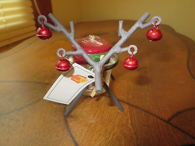 Metal Reindeer With Ornaments On His Antlers, Cranberry Candle Included