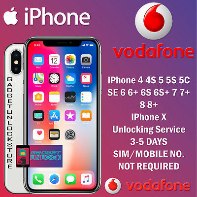 FAST VODAFONE UK UNLOCK SERVICE FOR iPhone 8 8+ 7 7+ 6S 6S+ 6 SE PLUS 3-5 DAYS