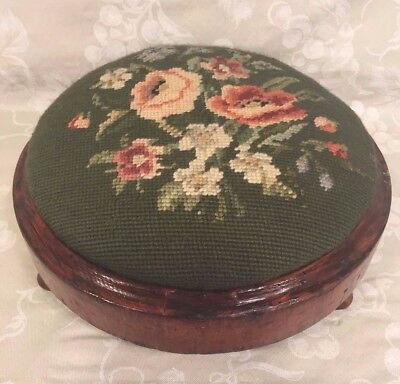 Antique Needlepoint Footstool Interesting Topper Screw Affixing Method