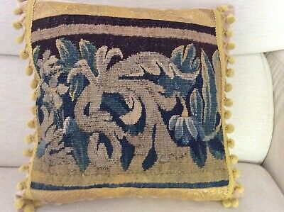 Antique 17th century French Aubusson verdure tapestry cushion, pillow