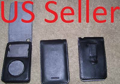 NEW Black leather Case for apple ipod classic 160GB built in screen protector