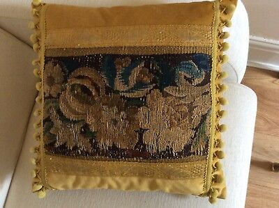 Antique 17th century French Aubusson tapestry and new velvet cushion pillow